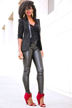 Style Pantry | Structure Blazer + Cowl Neck Blouse + Leather Pants