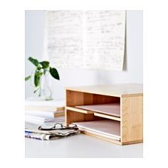 IKEA - FÖRHÖJA, Letter tray, Helps you organise your papers.The soft plastic feet protect the surface underneath from scratches and help the letter tray to stand steady.You can stack 2 letter trays on top of each other if you want to make the most of the space in your bookcase or on your desk.Solid wood is a hardwearing natural material.