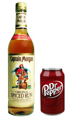 captain morgan- dr. pepper  Two of favorites - together!  Yum!    Best drink ever <3