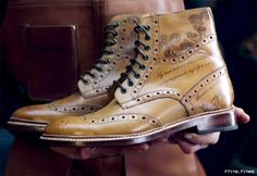 What better way to individualize your leather shoes than with the beautiful custom Oliver Sweeney Tattoo service. Professionally hand-inked to your specs.
