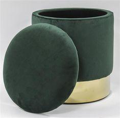 ELEGANCJA puf ze schowkiem butelkowa zieleń ze złotym dołem, 44x39x39 cm zielony || złoty | Meble \ Siedziska, pufy i taborety | Planter Pots