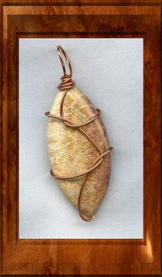 Fossil Coral Copper Wire Wrapped Pendant