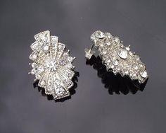 Wedding Earrings - Rhinestone Stud Earrings, Art Deco Style, Angela