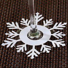 Flocon de neige en forme de cartes d'endroit pour le verre de vin - Ensemble de 12 – EUR € 3.34
