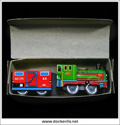 Magic Shunting Train (2 of 2). Vintage Tin Litho Plate Toy. Wind-Up / Clockwork Mechanism.