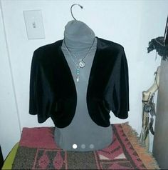 Black crush velvet Shaw cover up This is a gently used black crush velvet Shaw  Says size 2x but fits like a 1x  From a smoke free Pet friendly home  Price is firm connected  Tops