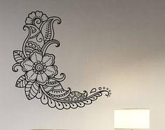 Alheña Paisley flor pared calcomanía Mehndi patrón vinilo pegatina indio ornamento arte hindú decoraciones florales para casa habitación y decoración étnica mh3