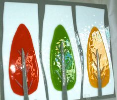 Unique handmade glass splashback design- 3 Trees with texture Slumped Glass, Fused Glass Art, Dichroic Glass, Stained Glass, Glass Splashbacks, Kiln Formed Glass, Ceramic Painting, Painting Inspiration, Backsplash