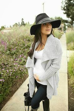 Wide Brim Fedora c/o NastyGal, Cardigan c/o Lookbookstore, Target Maternity Tank, and Paige Maternity Denim, and Hunter Boots..