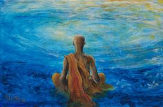Painting of meditation, buddhist monk in a swirl of blue water. Buddhist Beliefs, Buddhist Monk, Spiritual Paintings, Nature Paintings, Personal Branding, Mind Unleashed, Mindfulness For Kids, Rustic Colors, Past Relationships