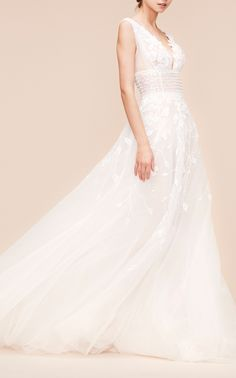 6d246b42 This **Georges Hobeika Bridal** Sleeveless Pearl Gown features an A-line  silhouette with a plunging v neckline, fitted contrast waist panel  embellished with ...