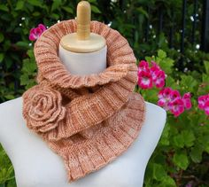 Ruffled and Ruched Scarf PDF Knitting Pattern.