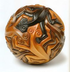 M. C. Escher Carved sphere with reptiles 1949  Maple, stained in four colors Diameter approx. 18 cm