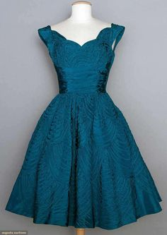 Ceil Chapman Teal Party Dress, Mid 1950s, Augusta Auctions, November 12, 2014