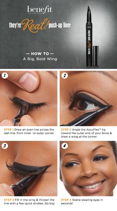A Big, Bold Wing HOW TO featuring Benefit's They're Real! PushUp Liner Sephora howto beautytutorial Cosmetics is part of eye-makeup - eye-makeup Love Makeup, Makeup Tips, Makeup Looks, Hair Makeup, Makeup Ideas, Makeup Products, All Things Beauty, Beauty Make Up, Hair Beauty