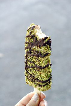 Dark Chocolate Pistachio Popbar by High/Low Food/Drink: Yum! Not a recipe, but maybe an inspiration. #Popbar #Gelato #Pistachio #Chocolate