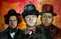 """""""The 3 Stooges"""" - Original art by Marcelo Neira - mixed media - 28x40 inches - tiempodeshow@gmail.com"""