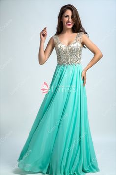 Stunning Beaded Green Chiffon V-Neck Floor Length A-Line Prom Dress A Line Prom Dresses, Homecoming Dresses, Formal Dresses, Wedding Dresses, Bodice, Chiffon, Floor, V Neck, Green