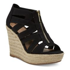 Women's Ruth Canvas Zipper Wedge Espadrille Sandals - Black 6.5