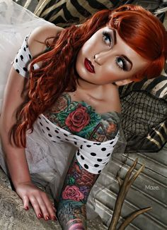 Another pin-up fave #tattoos #girl #vintage #flowers