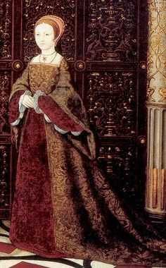 This is Princess Elizabeth. It's from a portrait of Henry VIII with Mary, Elizabeth, Jane Seymour and Edward. http://tudorhistory.org/groups/whitehall.jpg It always makes me sad this one because the girls are stuck on the outside. He was a monster.