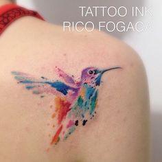 Beija Flor - Aquarela!, tatuagem feita pelo tatuador Rico Fogaça no Tattoo Ink - Rua Consolação, 2761, Jardins, São Paulo - SP, Agende sua Tattoo! (11) 3562-5573 contato@estudiotattooink.com.br www.estudiotattooink.com.br #tattooaquarela #estudiotattooink @estudiotattooink