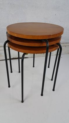 Mid Century Modern Wood and Wire Iron Stacking Tables at 1stdibs