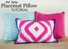 DIY No-Sew Placemat Pillow - less than $15 in supplies and 15 minutes to make a fab throw pillow with just a placemat!