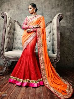 Buy Orange and Red Faux Georgette and Net Lehenga Style Saree with Blouse [#Iffa33507] Price: 6650 Rs. For More Detail Whatsapp @ +919827531001 Or Email@ Support@AanchalFashion.com