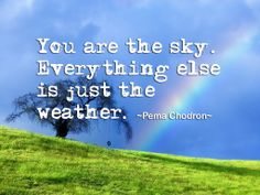 "www.cluesforsuccess.com ""You are the sky, everything else is just weather."" by Pema Chodron"