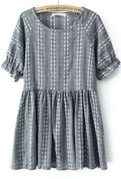 Grey Short Sleeve Floral Pleated Loose Dress 16.00