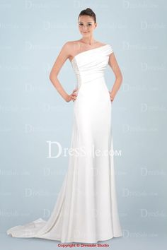 Statuesque One Shoulder Chiffon Wedding Dress Featuring Pleats Detail
