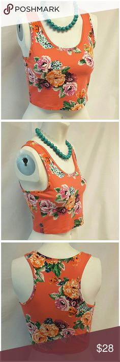 """40% BUNDLE DISCOUNT! FREE SHIPPING ON BUNDLES!! AMBIANCE APPAREL, NEW without Tags from wholesale manufacturer, Crop Top, size Medium See Measurements, deep scoop neck, vibrant colors floral print design, body-con style body hugging stretchy soft material, 95% cotton, 5% spandex, approximate measurements: 16"""" length, 15.5"""" bust laying flat, top only in this listing, necklace not included.  ADD TO A BUNDLE!?? 40% BUNDLE DISCOUNT! FREE SHIPPING ON BUNDLES!! ?OFFER? 40% less Plus $6 LESS ON…"""