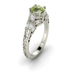 1 Ct Natural Round Cut Peridot Diamond Engagement Ring in 14k White Gold | eBay