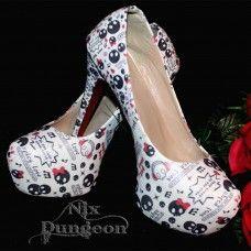 Skull Round Toe Platform Shoe. www.nixdungeon.co.nz Platform Shoes, Skull, Toe, Accessories, Platform Shoe, Skulls, Sugar Skull, Platform Pumps, Finger