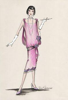 desenho de moda curitiba: Desenho de moda - anos 20