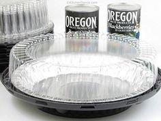 """Disposable Pie Pans w/ Carriers- Combo Packs- 6"""" to 10"""" Sizes (10, 10"""" High Dome w/ #1042 pie pan)"""