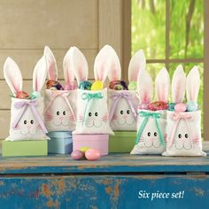 Shop spring décor to give the interior and exterior of your home a springy, light-hearted feel. Collections Etc. has creative accents for your spring style. Discount Home Decor, Bunny Bags, Collections Etc, Easter Table Decorations, Easter Treats, Cute Bunny, Treat Bags, Easter Baskets, Easter Bunny
