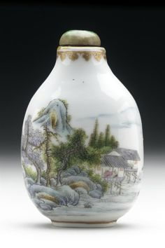 Snuff Bottle (Biyanhu) with Landscape China, Chinese, late Qing dynasty, Guangxu period, 1874-1908, or Republican Period, 1911-1950 Tools and Equipment; bottles Porcelain with painted enamel decoration, hardstone stopper 2 1/2 x 1 5/8 x 1 1/4 in. (6.35 x 4.13 x 3.18 cm) Gift of Albert G. Wassenich (35.9.217a-b) Chinese Art