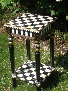 Hand Painted Black and White Table by paintingbymichele on Etsy, $165.00