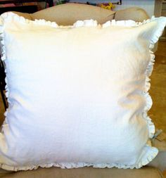 26x26 Boxed Cream Linen  Euro Sham. $119.00, via Etsy.