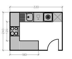 13 plans pour une cuisine fermée de 3 à 9 - CôtéMaison. Backyard Kitchen, Kitchen Dinning, Mandir Design, Compact Kitchen, Kitchen Pictures, Basement Remodeling, Home Kitchens, Kitchen Remodel, Kitchen Design