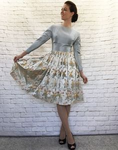 Vintage 50s Silk Satin Jacquard Pleated Skirt Cocktail Dress Ice Blue Pearl Floral XS by PopFizzVintage on Etsy
