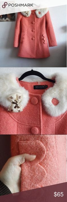Cute Pink peacoat with fur Peter Pan collar Vintage inspired pea coat with fur collar. Collar is removable Jackets & Coats Pea Coats