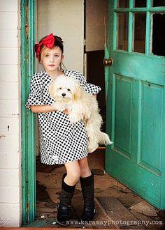 TODDLER Girls Modern Shift Dress  Blk/Wht by KaitEmersonDesigns, $55.00