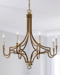 "Large Mykonos 8-Light Chandelier  Handcrafted chandelier. Brass with an antiqued finish. Uses eight 60-watt bulbs. Professional installation recommended. Hanging hardware and ceiling canopy included. 37""Dia. x 38.75""T with 6'L chain. Imported. Boxed weight, approximately 42.6 lbs $2,100."