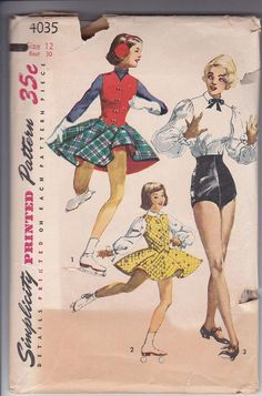 50s Girl Tap Dancing Skating Blouse Trunks Panties Circle Skirt Weskit Size 12 Bust 30 Vintage Sewing Pattern Mccalls 9341 Complete