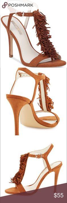 "BCBG Generation Clue Heel Sandal, Caramel, NWT BCBG Clue Heel Sandal, beautiful caramel suede, with fringe detail. NWT, size 8, 4 1/4"" heel. BCBGeneration Shoes Heels"