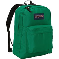 JanSport SuperBreak Backpack (42 CAD) ❤ liked on Polyvore featuring bags, backpacks, green, school & day hiking backpacks, padded backpack, knapsack bags, jansport backpack, day pack backpack and jansport bags
