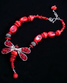 Coral Dragonfly - Jewelry creation by Madalynne Homme